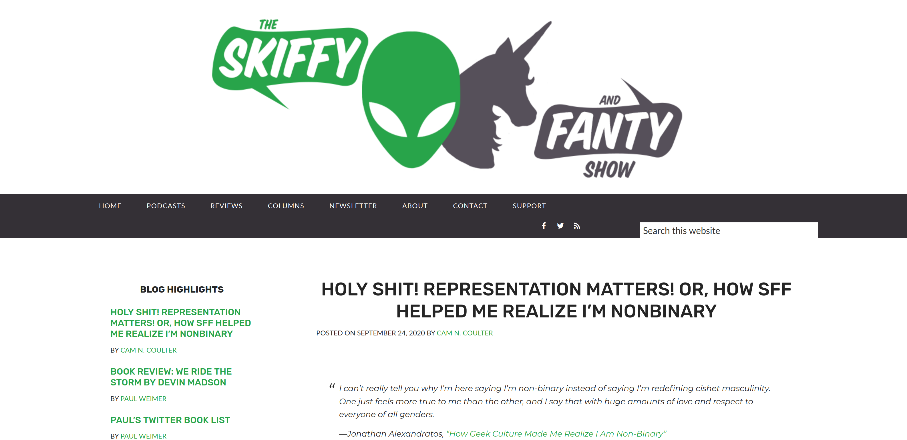 Screenshot of the Skiffy and Fanty website. Header text reads: Holy Shit! Representation Matters! Or, How SFF Helped Me Realize I'm Nonbinary