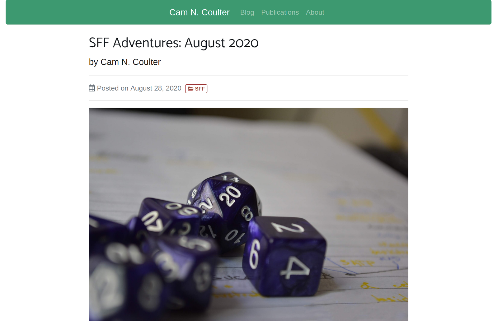 Screenshot of a blog post: SFF Adventures August 2020 by Cam N. Coulter
