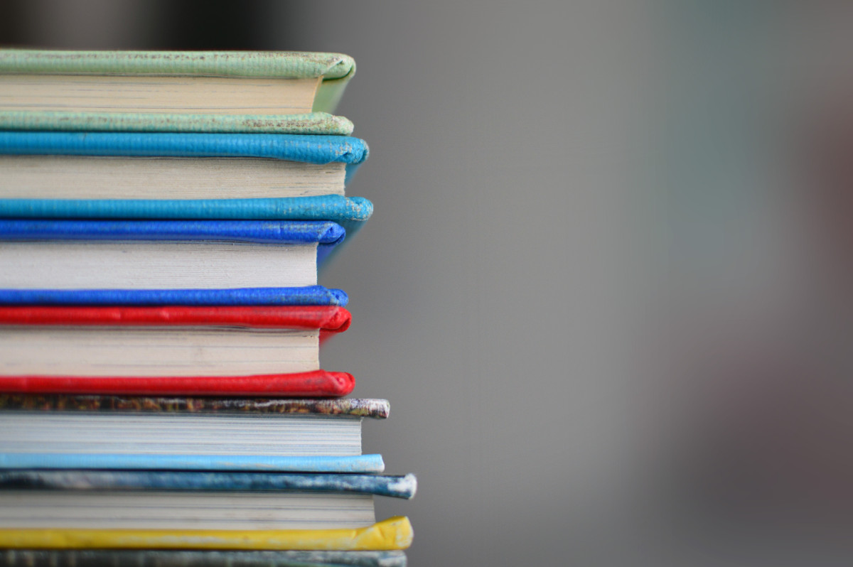 A colorful stack of books
